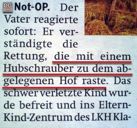 Faksimile aus dem Artikel der Tageszeitung ÖSTERREICH vom 29.12.09