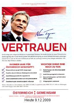 ganzseitige Werbeschaltung in der Tageszeitung HEUTE für und von Bundeskanzler Werner FAYMANN am 9.12.2009