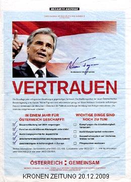 Faymann in der Kronen Zeitung am 20.12.09