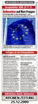 Werbung des Bundeskanzleramtes am 25.12.09 in der Krone