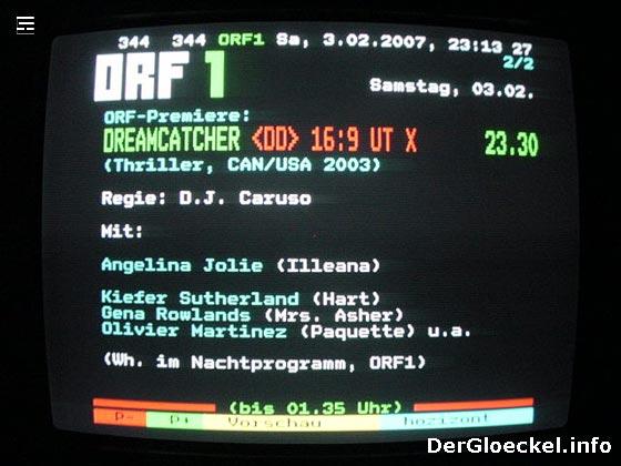 falsche Teletextinformationen zur Premiere des ORF von DREAMCATCHER
